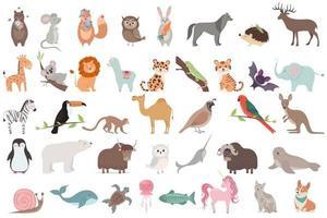 Big set of animals isolated on white background. vector