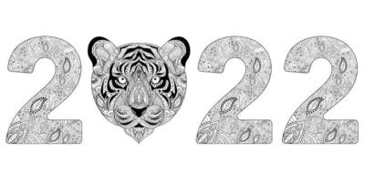 Happy New Year 2022, of Tiger. Hand drawn zentangle numbers 2022 Tiger vector