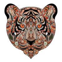 Colored Zentangle Tiger Head. Hand drawn vector illustration