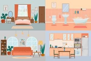 Set cozy interior design house rooms with furniture. Bedroom, kitchen vector