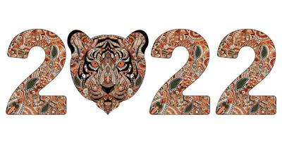 The year of Tiger. Hand drawn zentangle numbers 2022 with Tiger. vector
