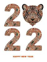 Happy New Year 2022. year of Tiger. zentangle 2022 with Tiger vector