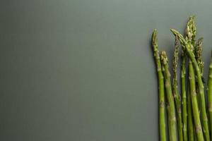 Top view delicious asparagus with copy space photo