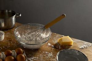 Delicious cheese bread making composition photo