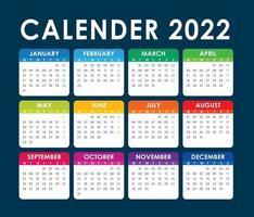 2022 Calendar Vector, English version vector