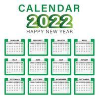 2022 Calendar Vector English Full Editable