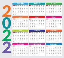 2022 calendar Colorful Vector