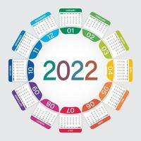 round calendar 2022 design vector