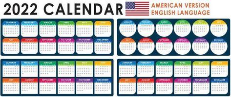 2022 Calendar Vector, American version vector