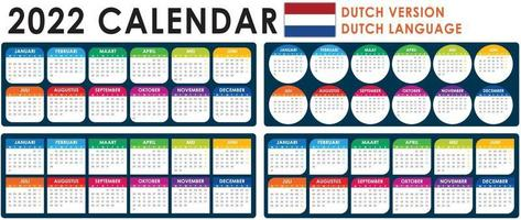 2022 Calendar Vector, Dutch version vector