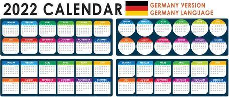 2022 Calendar Vector, German version vector