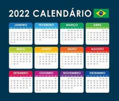 2022 Calendar Vector, brazilian version vector