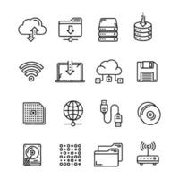 Icon set of data processing activity vector