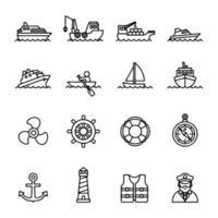 Line icon set of boat ship logo vector