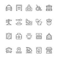 Line icon set of public navigation sign vector