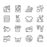 Line icon set of laundry label symbol vector