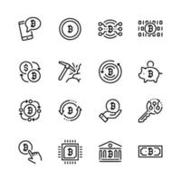 Line icon set related to bit coin mining vector