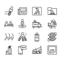 Line icon set related to news vector