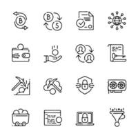 Line icon set related to bit coin vector