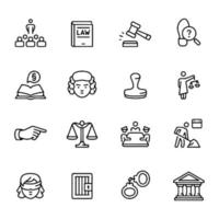 Line icon set for judgement law vector