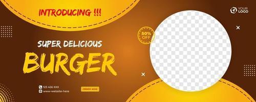 Delicious burger banner vector