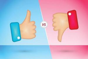 Thumb up and thumb down icons like and dislike vector