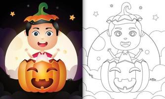 coloring book with a cute boy in the halloween pumpkin vector