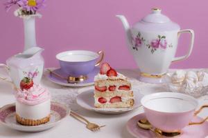 el surtido elegante de la fiesta del té foto