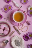 la sofisticada composición de la fiesta del té foto