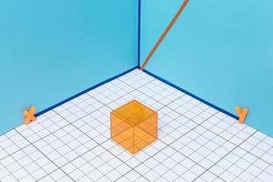 Geometric arrangement with 3d shapes photo