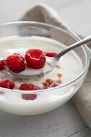 yogur con frambuesas vista superior foto