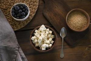 Flat lay bowl with delicious cheese photo