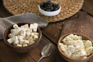 High angle bowl with tasty cheese photo