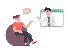 Woman counseling with psycologist about her problem vector