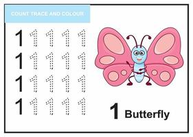 count trace and colour butterfly number 1 vector