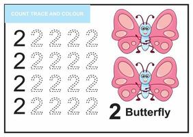 count trace and colour butterfly number 2 vector