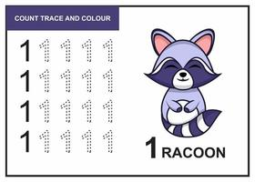 count trace and colour racoon number 1 vector