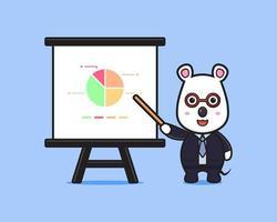 Cute mouse businessman presentation  cartoon icon illustration vector