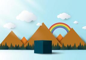 Podio de pedestal en forma de cubo azul realista 3d con naturaleza de paisaje vector