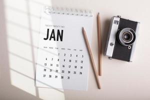 concepto de organización del tiempo con vista de planificador foto