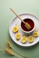 Top view honey banana arrangement photo