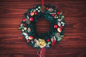 Christmas border from christmas wreath useful as christmas decoration photo