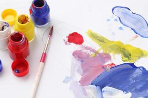 Group of equipment for painting on paper photo