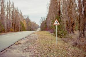 Pripyat, Chernobyl, Ukraine, Nov 22, 2020 - Road sign in Chernobyl photo
