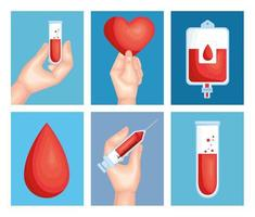 six donor blood icons vector