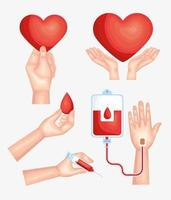 five donor blood icons vector