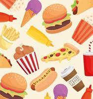 delicioso patrón de productos de comida rápida vector