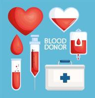 blood donor lettering icons vector