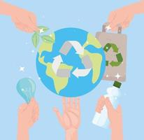 Earth with recycle icons vector