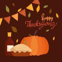 happy thanksgiving celebration lettering card with pumpkin vector